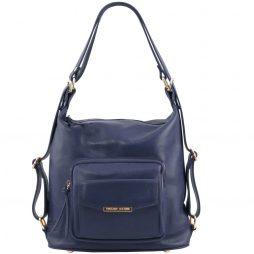 Сумка Tuscany Leather TL141535 TL Bag - Женская кожаная сумка-рюкзак 2 в 1 (Цвет - Темно-синий) - картинка 1