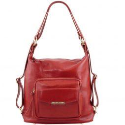 Сумка Tuscany Leather TL141535 TL Bag - Женская кожаная сумка-рюкзак 2 в 1 (Цвет - Красный) - картинка 1